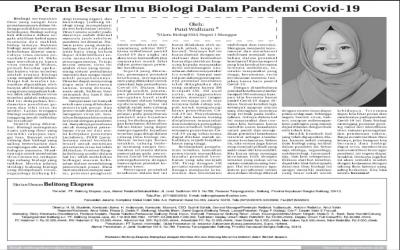 PERAN BESAR ILMU BIOLOGI DALAM PANDEMI COVID-19